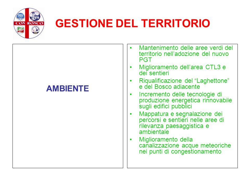 GESTIONE DEL TERRITORIO AMBIENTE Mantenimento delle aree verdi del territorio nell'adozione del nuovo PGT Miglioramento dell'area CTL3 e dei sentieri