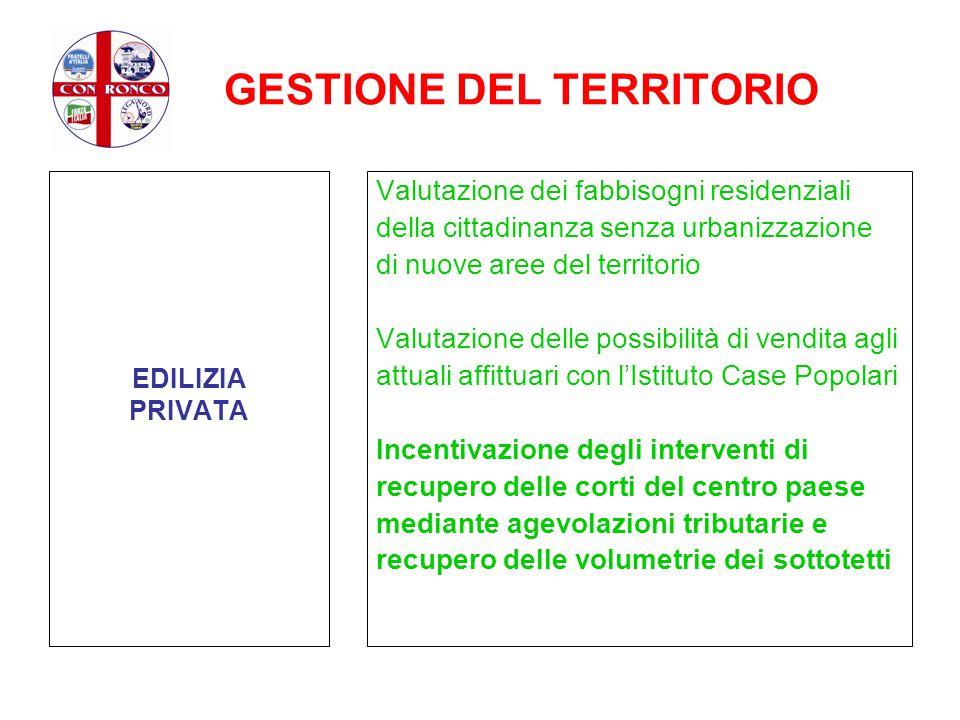 GESTIONE DEL TERRITORIO EDILIZIA PRIVATA Valutazione dei fabbisogni residenziali della cittadinanza senza urbanizzazione di nuove aree del territorio