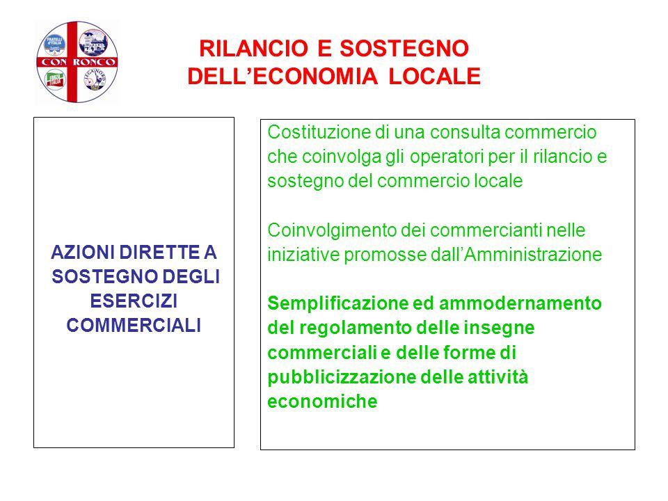 RILANCIO E SOSTEGNO DELL'ECONOMIA LOCALE AZIONI DIRETTE A SOSTEGNO DEGLI ESERCIZI COMMERCIALI Costituzione di una consulta commercio che coinvolga gli
