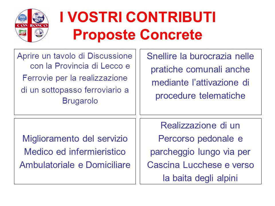 I VOSTRI CONTRIBUTI Proposte Concrete Aprire un tavolo di Discussione con la Provincia di Lecco e Ferrovie per la realizzazione di un sottopasso ferro