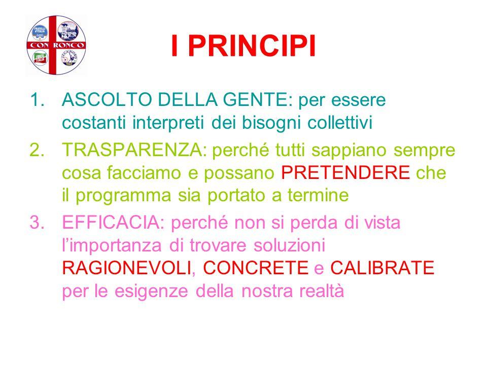 I PRINCIPI 1.ASCOLTO DELLA GENTE: per essere costanti interpreti dei bisogni collettivi 2.TRASPARENZA: perché tutti sappiano sempre cosa facciamo e po