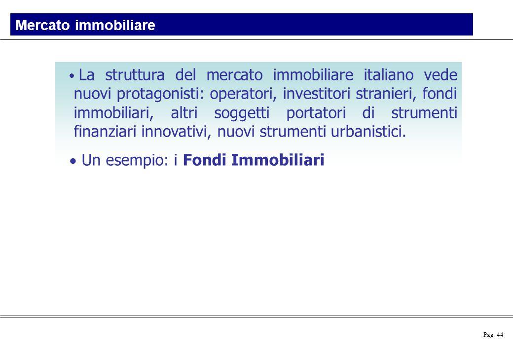 Pag. 44  La struttura del mercato immobiliare italiano vede nuovi protagonisti: operatori, investitori stranieri, fondi immobiliari, altri soggetti p