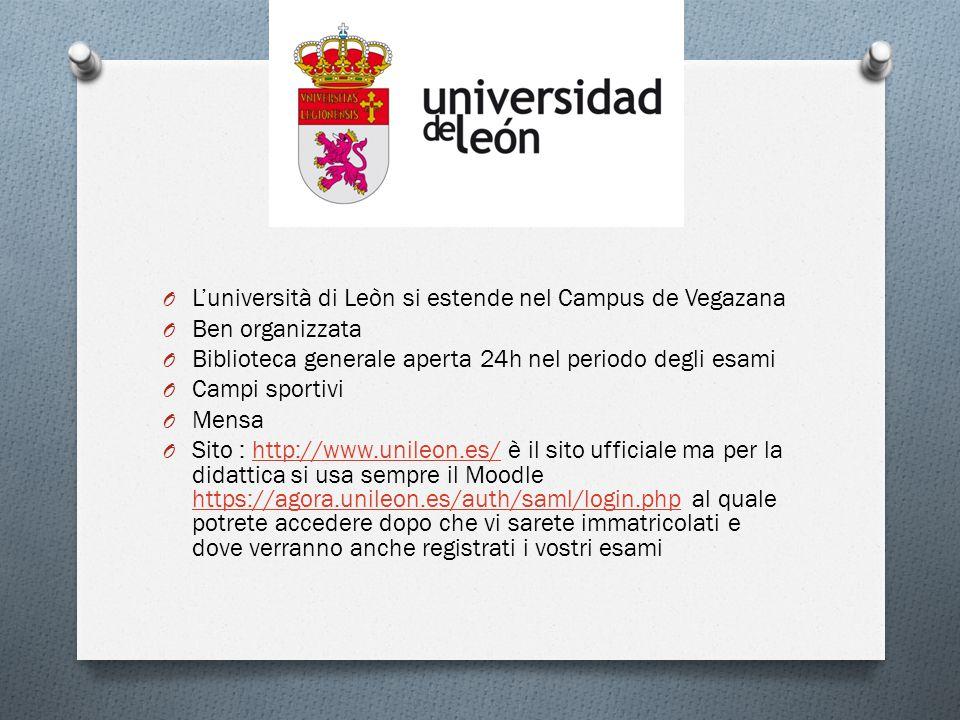 O L'università di Leòn si estende nel Campus de Vegazana O Ben organizzata O Biblioteca generale aperta 24h nel periodo degli esami O Campi sportivi O Mensa O Sito : http://www.unileon.es/ è il sito ufficiale ma per la didattica si usa sempre il Moodle https://agora.unileon.es/auth/saml/login.php al quale potrete accedere dopo che vi sarete immatricolati e dove verranno anche registrati i vostri esamihttp://www.unileon.es/ https://agora.unileon.es/auth/saml/login.php