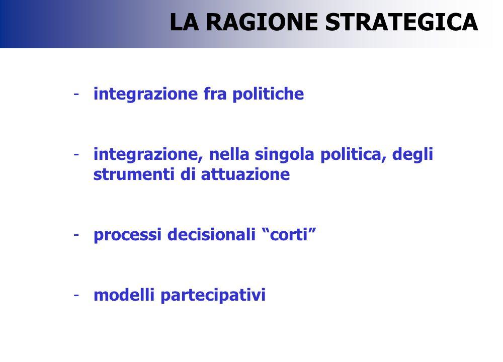 """-integrazione fra politiche -integrazione, nella singola politica, degli strumenti di attuazione -processi decisionali """"corti"""" -modelli partecipativi"""