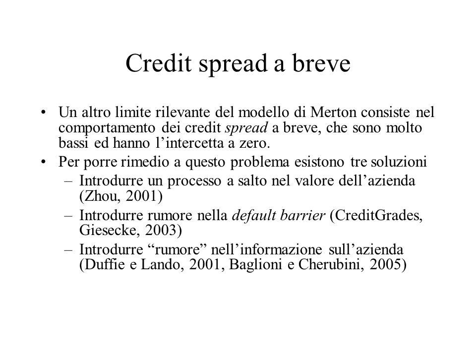 Credit spread a breve Un altro limite rilevante del modello di Merton consiste nel comportamento dei credit spread a breve, che sono molto bassi ed ha