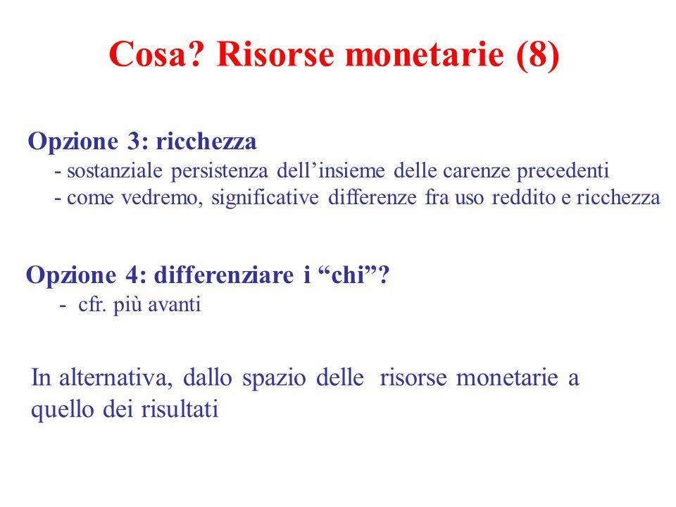 Opzione 3: ricchezza -sostanziale persistenza dell'insieme delle carenze precedenti -come vedremo, significative differenze fra uso reddito e ricchezz
