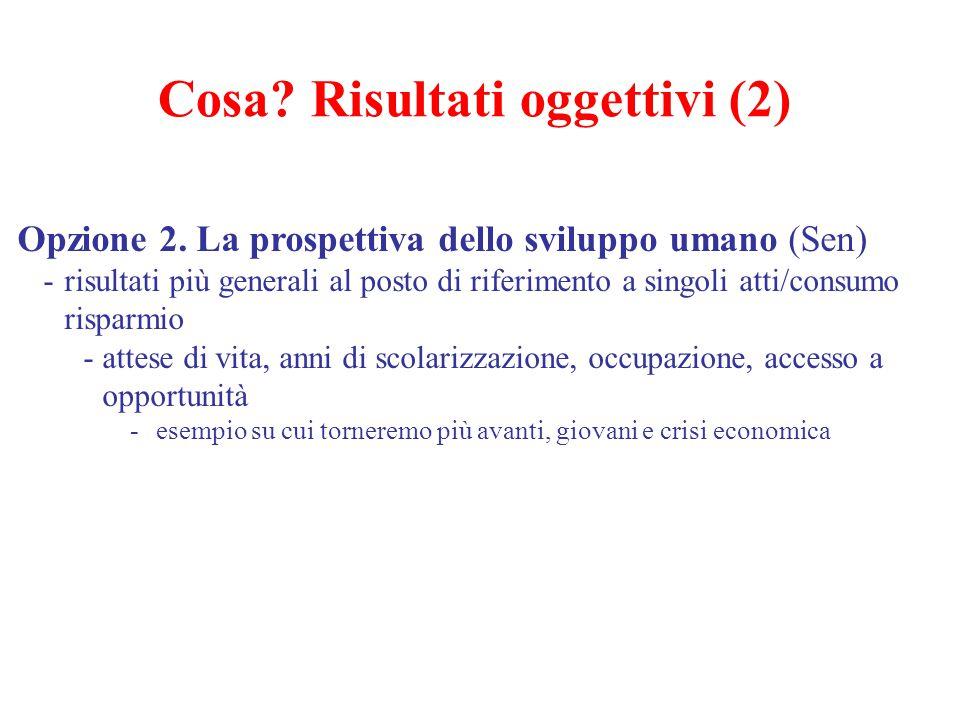 Cosa? Risultati oggettivi (2) Opzione 2. La prospettiva dello sviluppo umano (Sen) -risultati più generali al posto di riferimento a singoli atti/cons