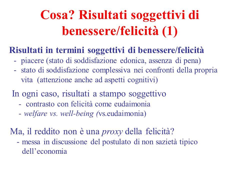 Cosa? Risultati soggettivi di benessere/felicità (1) Risultati in termini soggettivi di benessere/felicità -piacere (stato di soddisfazione edonica, a
