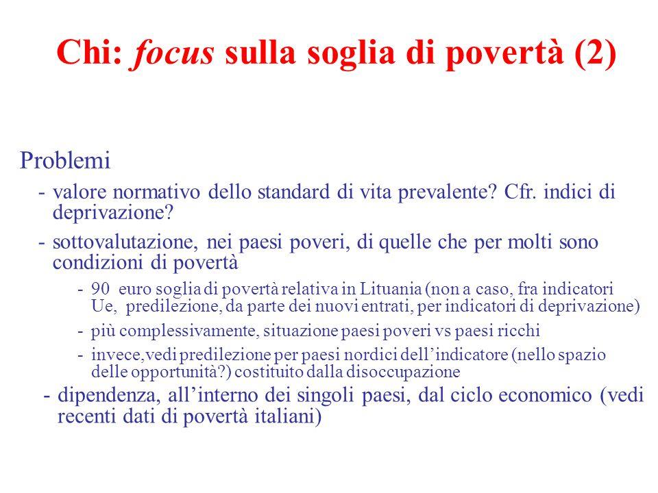 Chi: focus sulla soglia di povertà (2) Problemi -valore normativo dello standard di vita prevalente? Cfr. indici di deprivazione? -sottovalutazione, n
