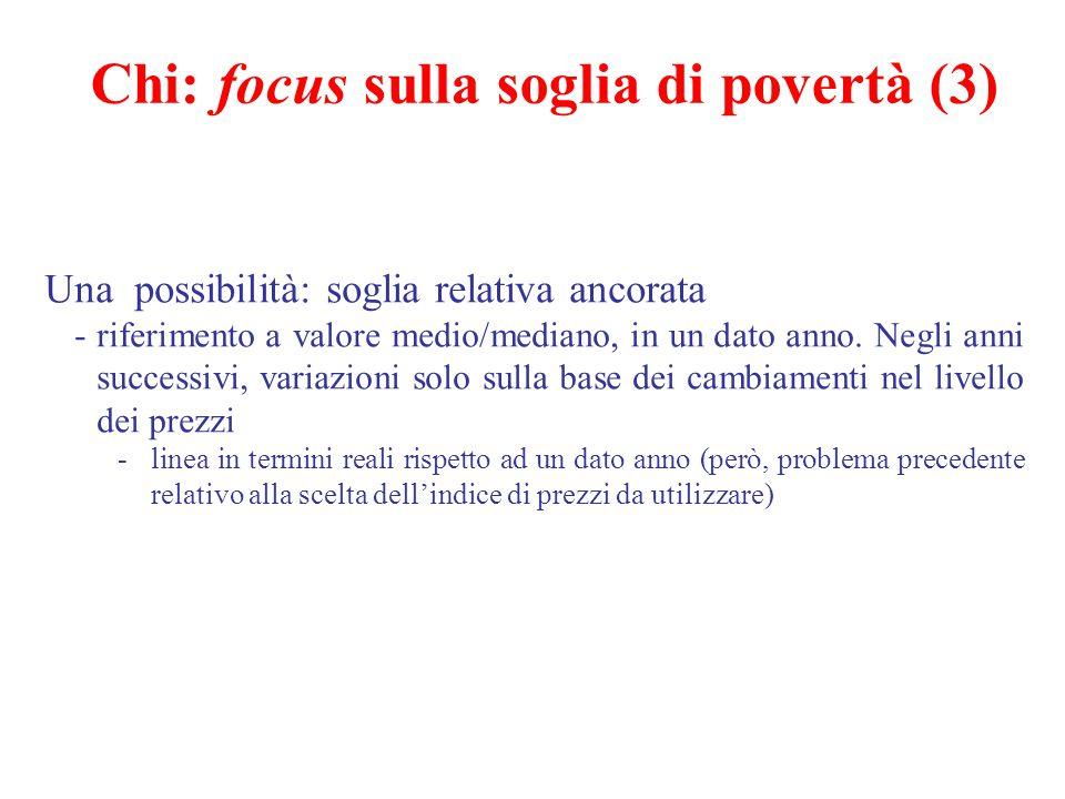 Chi: focus sulla soglia di povertà (3) Una possibilità: soglia relativa ancorata -riferimento a valore medio/mediano, in un dato anno. Negli anni succ