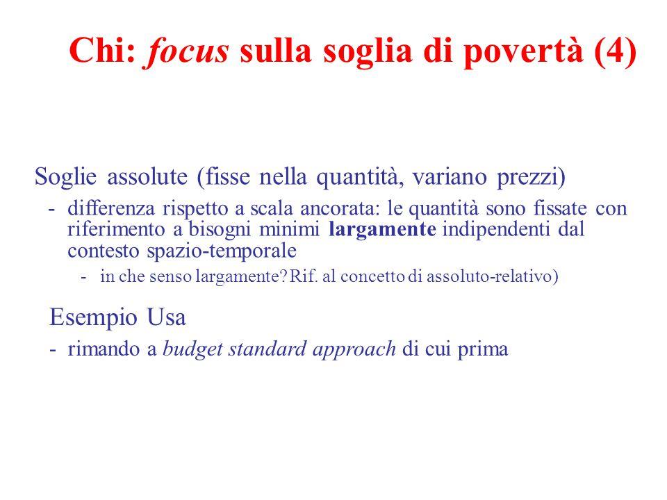 Chi: focus sulla soglia di povertà (4) Soglie assolute (fisse nella quantità, variano prezzi) -differenza rispetto a scala ancorata: le quantità sono