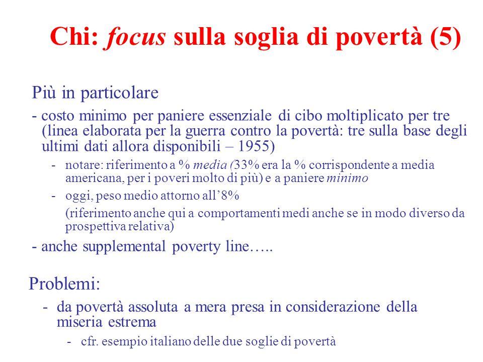 Chi: focus sulla soglia di povertà (5) Più in particolare - costo minimo per paniere essenziale di cibo moltiplicato per tre (linea elaborata per la g