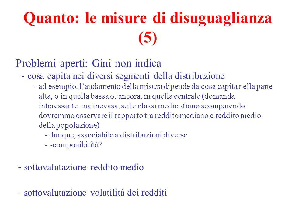 Quanto: le misure di disuguaglianza (5) Problemi aperti: Gini non indica -cosa capita nei diversi segmenti della distribuzione -ad esempio, l'andament