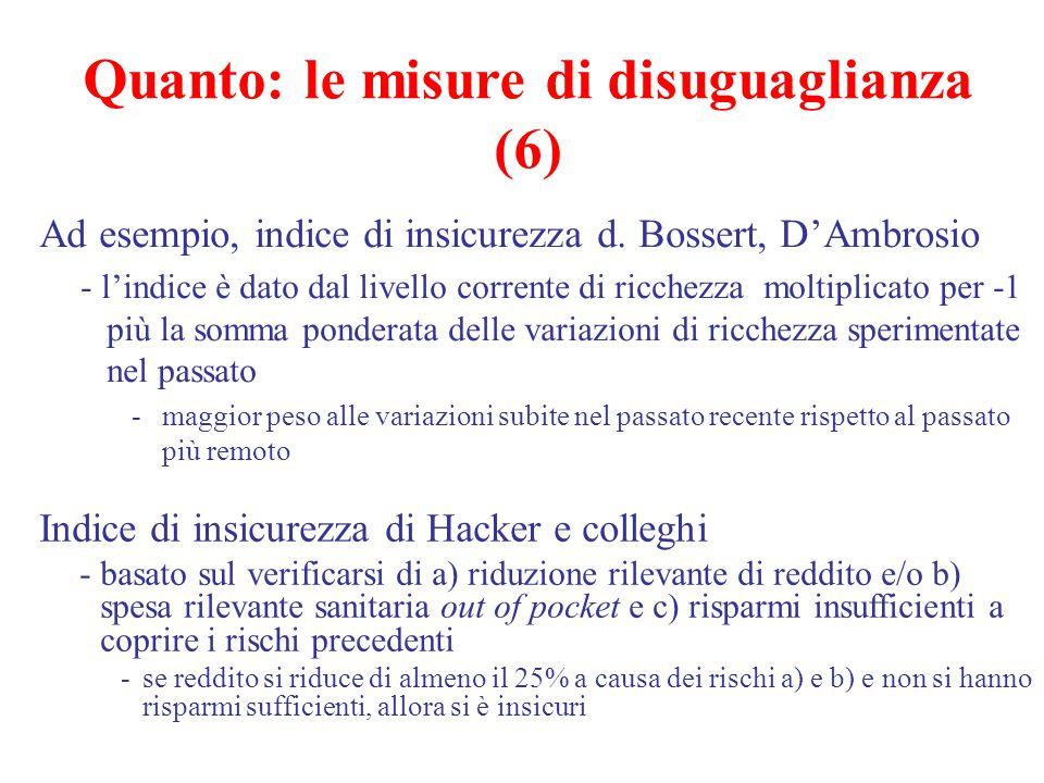 Ad esempio, indice di insicurezza d. Bossert, D'Ambrosio - l'indice è dato dal livello corrente di ricchezza moltiplicato per -1 più la somma ponderat