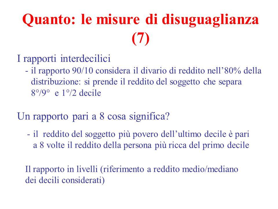 I rapporti interdecilici -il rapporto 90/10 considera il divario di reddito nell'80% della distribuzione: si prende il reddito del soggetto che separa