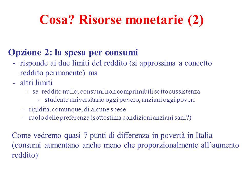 Cosa? Risorse monetarie (2) Opzione 2: la spesa per consumi -risponde ai due limiti del reddito (si approssima a concetto reddito permanente) ma -altr