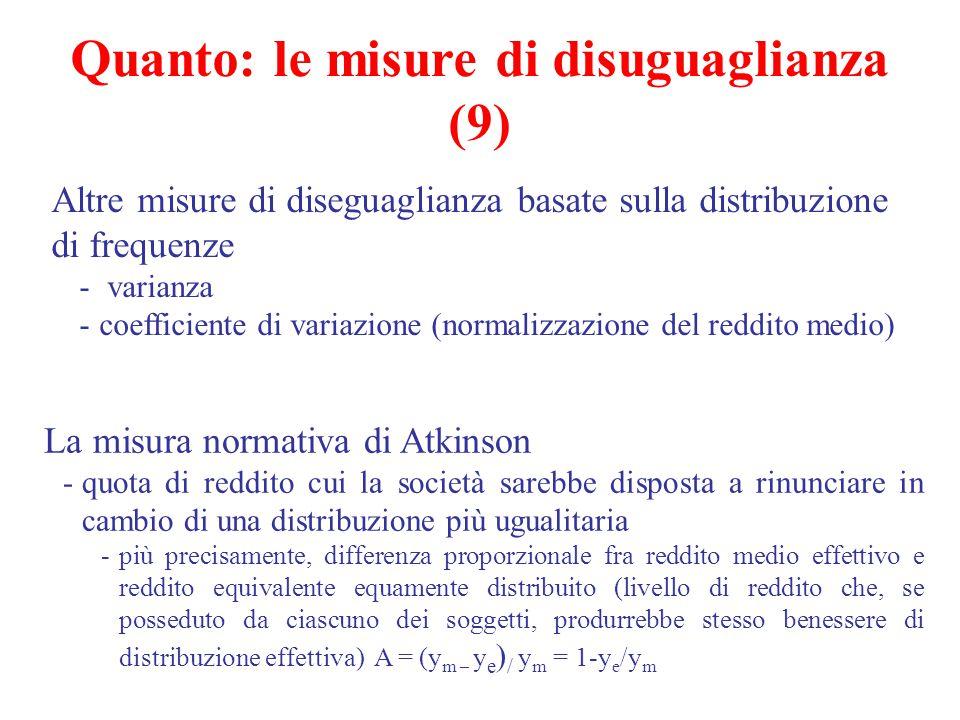 Altre misure di diseguaglianza basate sulla distribuzione di frequenze - varianza -coefficiente di variazione (normalizzazione del reddito medio) La m