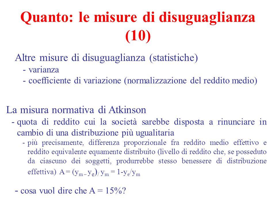 Altre misure di disuguaglianza (statistiche) -varianza -coefficiente di variazione (normalizzazione del reddito medio) La misura normativa di Atkinson