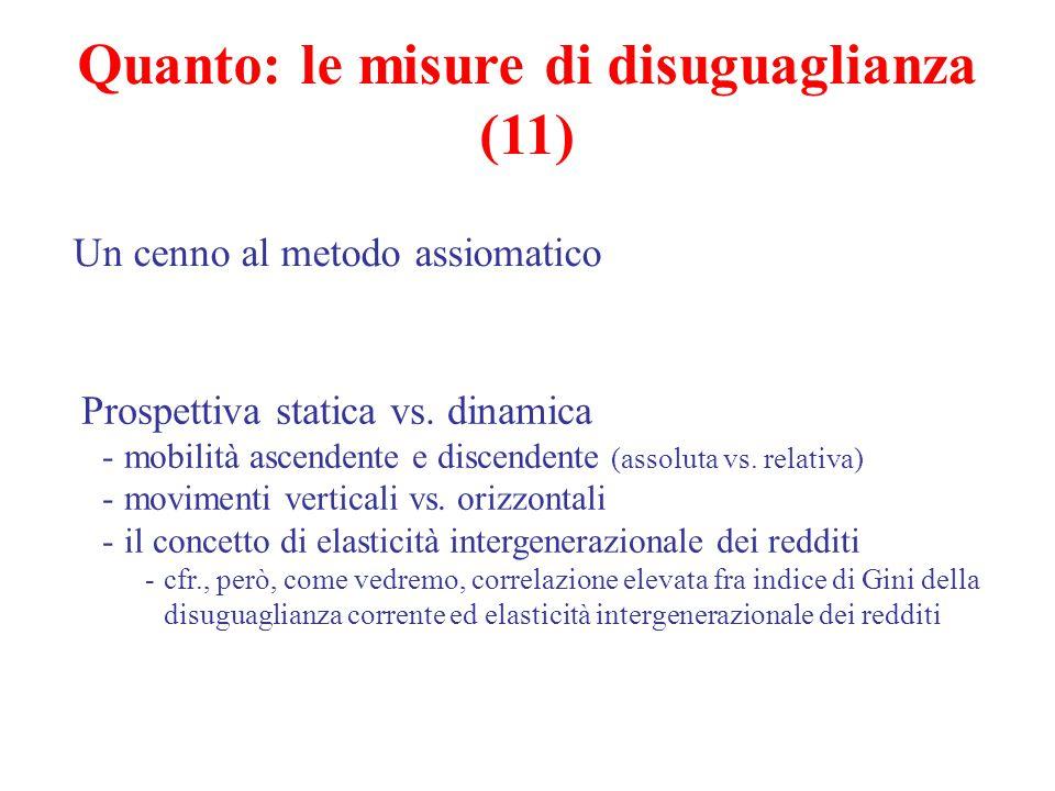 Quanto: le misure di disuguaglianza (11) Un cenno al metodo assiomatico Prospettiva statica vs. dinamica -mobilità ascendente e discendente (assoluta