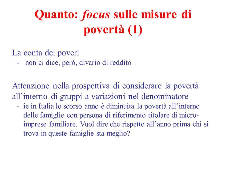 Quanto: focus sulle misure di povertà (1) La conta dei poveri - non ci dice, però, divario di reddito Attenzione nella prospettiva di considerare la p