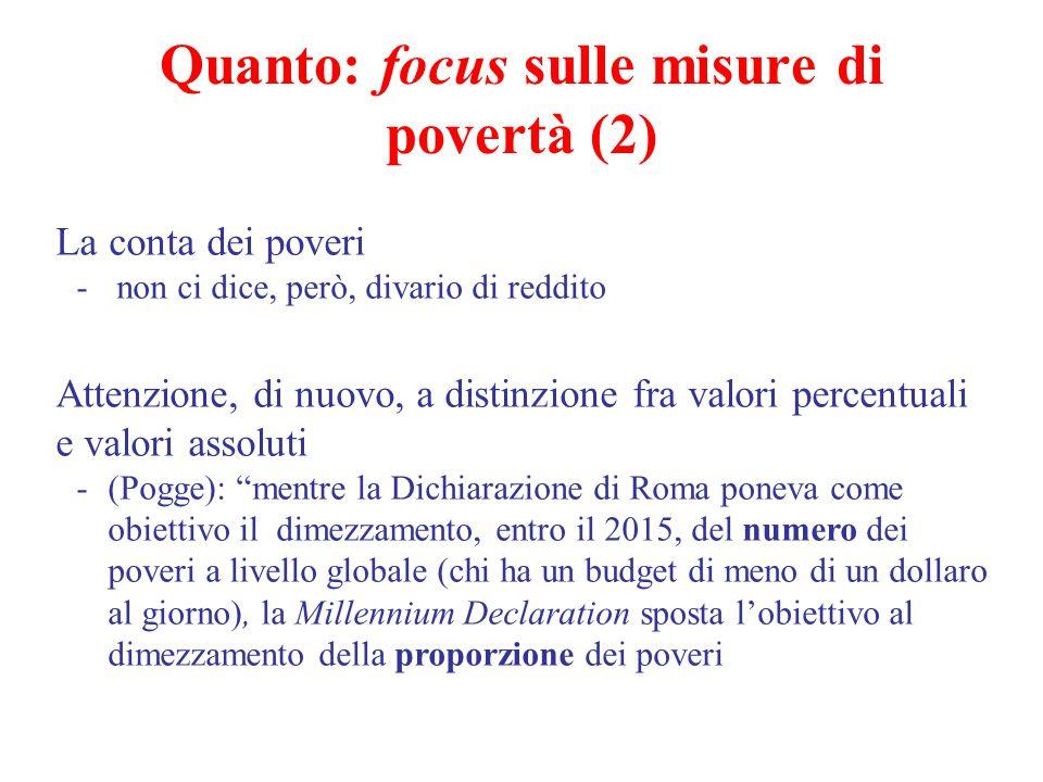 Quanto: focus sulle misure di povertà (2) La conta dei poveri - non ci dice, però, divario di reddito Attenzione, di nuovo, a distinzione fra valori p