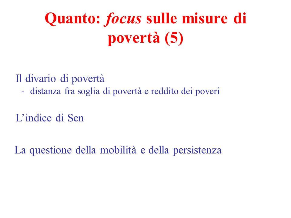Quanto: focus sulle misure di povertà (5) Il divario di povertà -distanza fra soglia di povertà e reddito dei poveri L'indice di Sen La questione dell