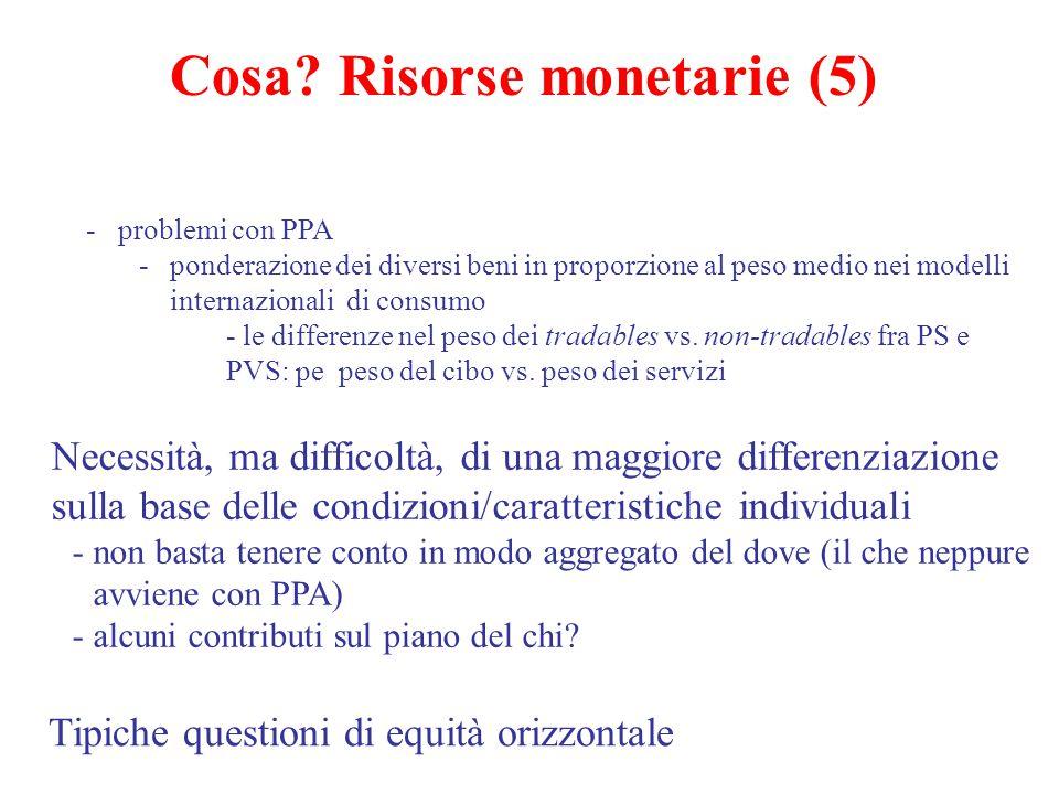 Cosa? Risorse monetarie (5) -problemi con PPA -ponderazione dei diversi beni in proporzione al peso medio nei modelli internazionali di consumo - le d