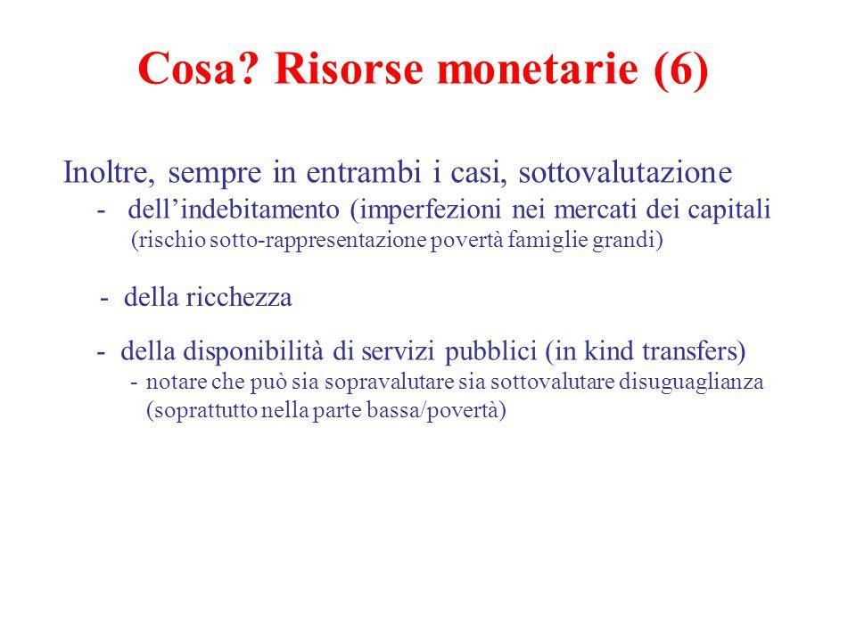 Cosa? Risorse monetarie (6) Inoltre, sempre in entrambi i casi, sottovalutazione - dell'indebitamento (imperfezioni nei mercati dei capitali (rischio