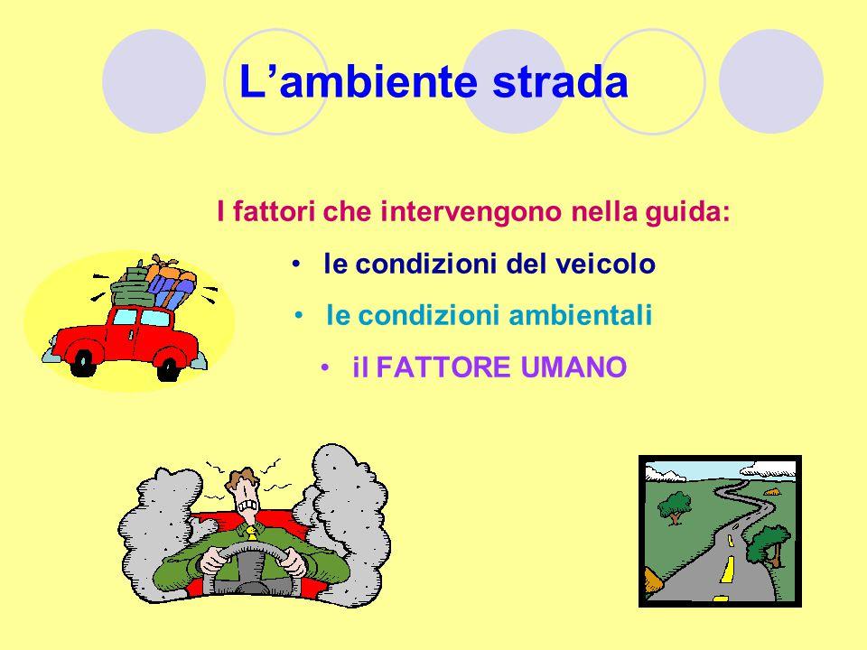 L'ambiente strada I fattori che intervengono nella guida: le condizioni del veicolo le condizioni ambientali il FATTORE UMANO