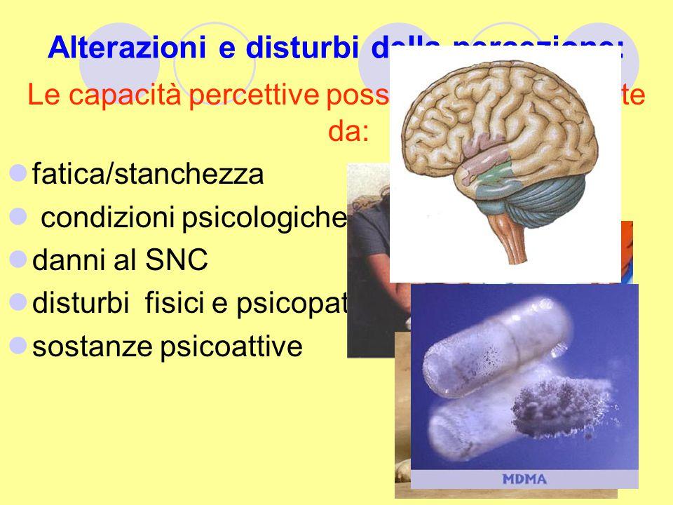 Alterazioni e disturbi della percezione: Le capacità percettive possono essere alterate da: fatica/stanchezza condizioni psicologiche danni al SNC dis