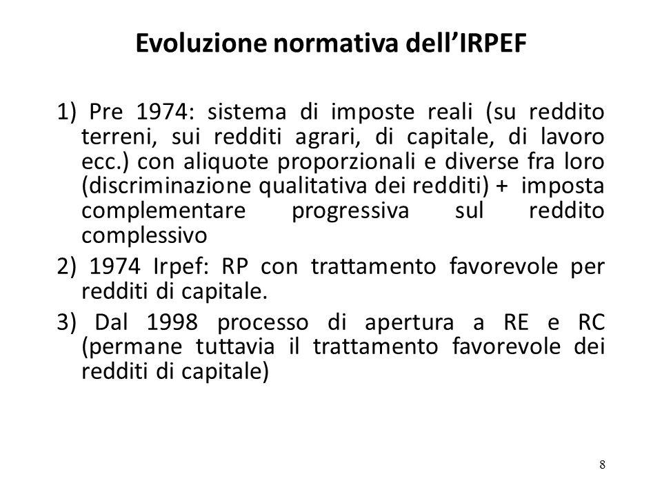 4) Legge delega 80/2003: obiettivo finale sostituzione dell'Irpef con l'Ire; due aliquote: 23% fino a 100.000 euro e 33% oltre questa soglia; sostituzione del sistema di detrazioni con un sistema di deduzioni Attuati solo due moduli: 2003 e 2005 5) Legge finanziaria 2007: nuova riforma Revisione di aliquote e scaglioni Si torna a sistema di detrazioni 6) Dal 2008 in poi modifiche che non alterano la struttura dell'imposta ma ne modificano sostanzialmente gli effetti redistributivi (coordinamento con l'IMU, razionalizzazione dei regimi di agevolazione fiscale)