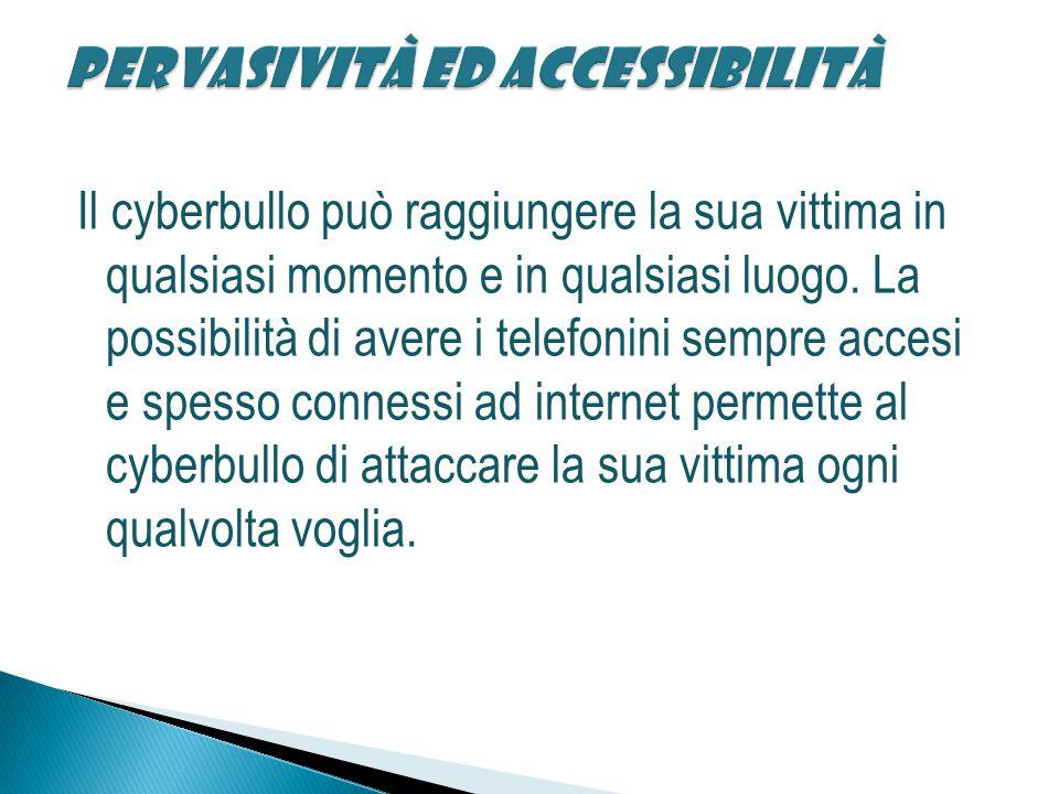 Il cyberbullo può raggiungere la sua vittima in qualsiasi momento e in qualsiasi luogo.