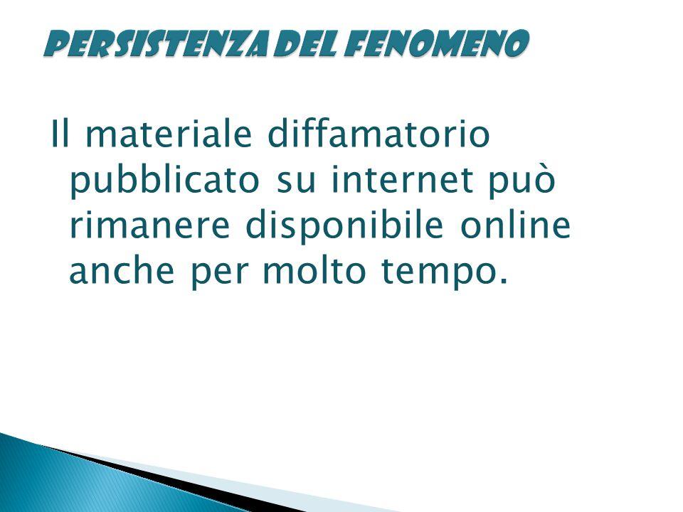 Il materiale diffamatorio pubblicato su internet può rimanere disponibile online anche per molto tempo.