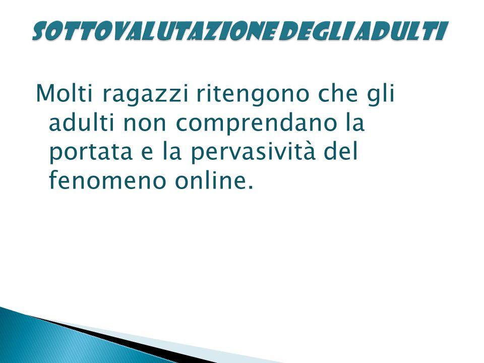 Molti ragazzi ritengono che gli adulti non comprendano la portata e la pervasività del fenomeno online.