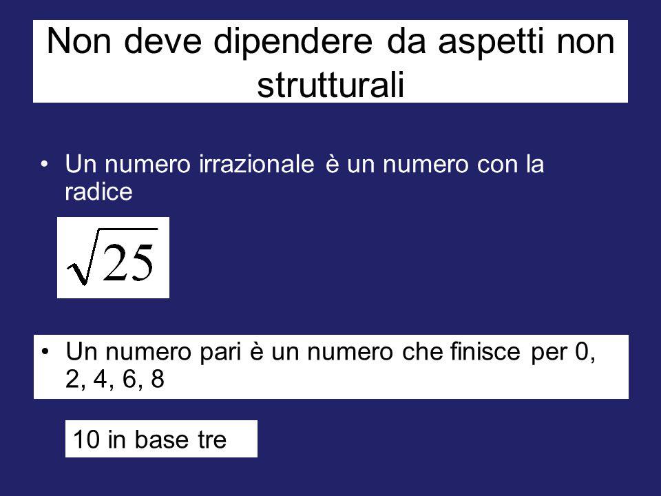 Non deve dipendere da aspetti non strutturali Un numero irrazionale è un numero con la radice Un numero pari è un numero che finisce per 0, 2, 4, 6, 8 10 in base tre