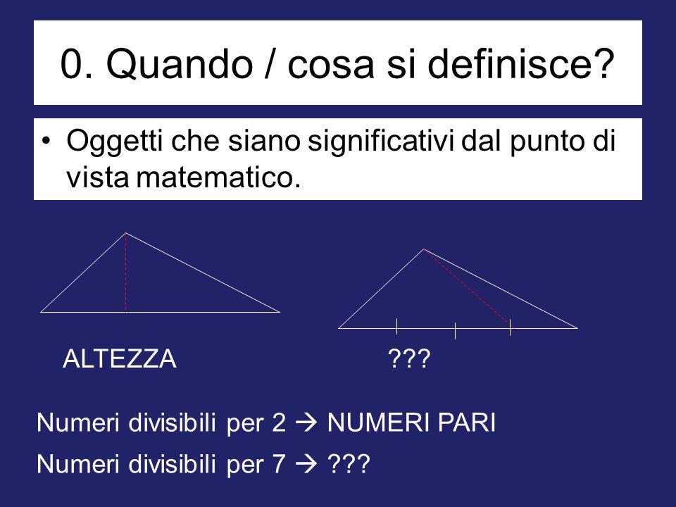 0. Quando / cosa si definisce? Oggetti che siano significativi dal punto di vista matematico. ALTEZZA??? Numeri divisibili per 2  NUMERI PARI Numeri