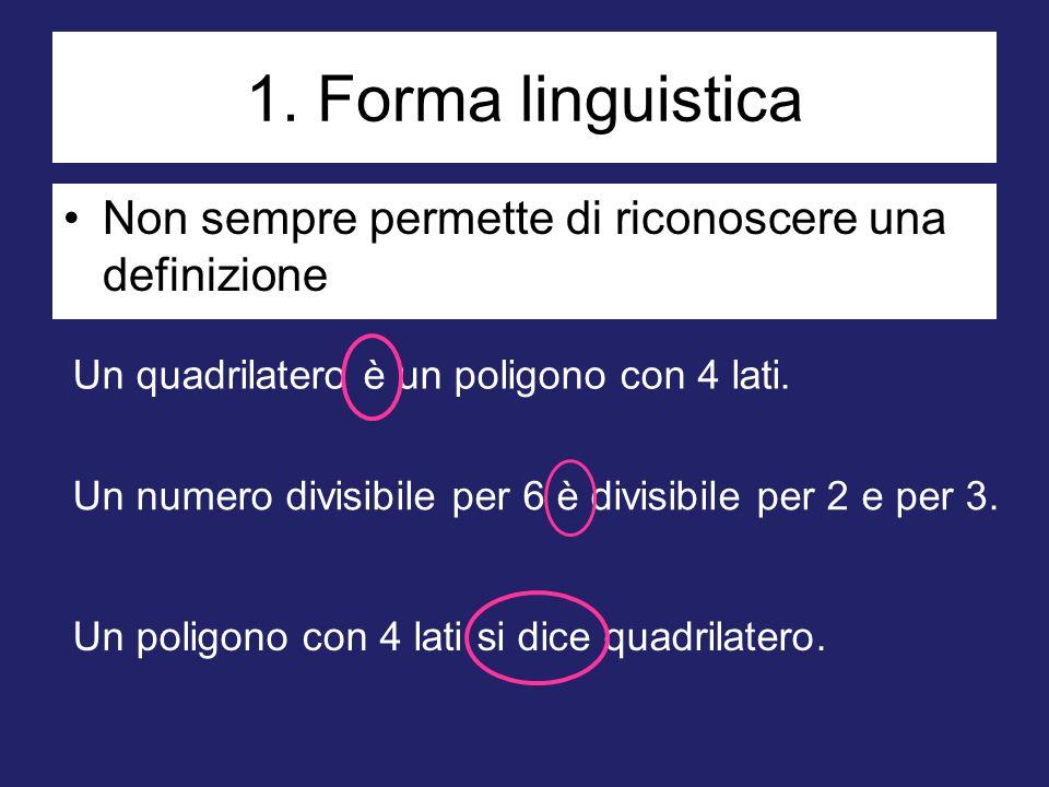 1. Forma linguistica Non sempre permette di riconoscere una definizione Un quadrilatero è un poligono con 4 lati. Un numero divisibile per 6 è divisib