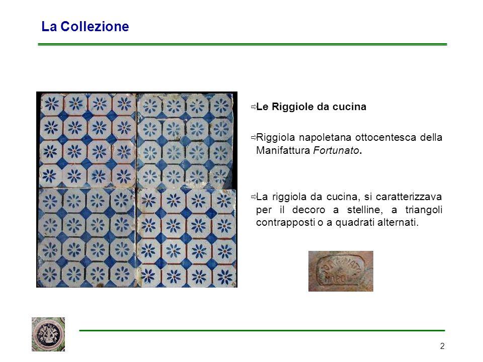 2 La Collezione  Le Riggiole da cucina  Riggiola napoletana ottocentesca della Manifattura Fortunato.  La riggiola da cucina, si caratterizzava per