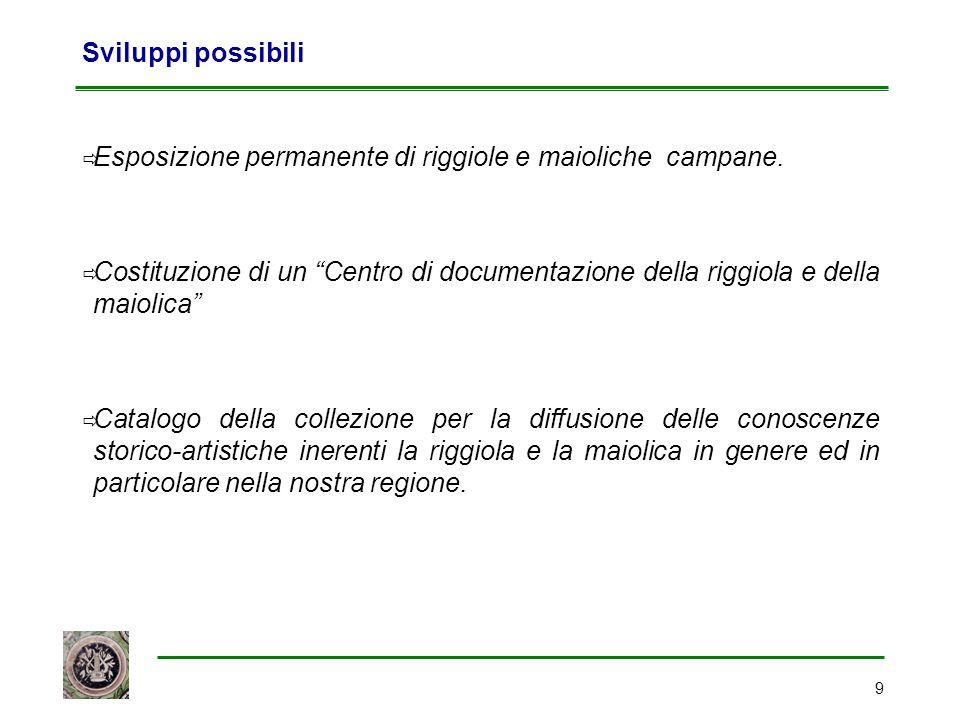 """9 Sviluppi possibili  Esposizione permanente di riggiole e maioliche campane.  Costituzione di un """"Centro di documentazione della riggiola e della m"""