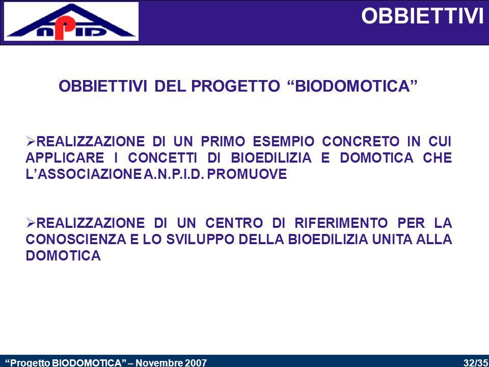32/35 Progetto BIODOMOTICA – Novembre 2007 OBBIETTIVI DEL PROGETTO BIODOMOTICA  REALIZZAZIONE DI UN PRIMO ESEMPIO CONCRETO IN CUI APPLICARE I CONCETTI DI BIOEDILIZIA E DOMOTICA CHE L'ASSOCIAZIONE A.N.P.I.D.