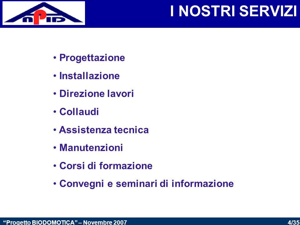 35/35 Progetto BIODOMOTICA – Novembre 2007 GLI OBBIETTIVI SARANNO RAGGIUNGIBILI CON LA SINERGIA E L'INTESA FRA:  A.N.P.I.D.