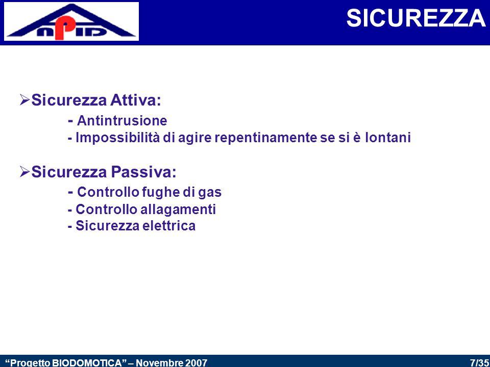 7/35 Progetto BIODOMOTICA – Novembre 2007 SICUREZZA  Sicurezza Attiva: - Antintrusione - Impossibilità di agire repentinamente se si è lontani  Sicurezza Passiva: - Controllo fughe di gas - Controllo allagamenti - Sicurezza elettrica