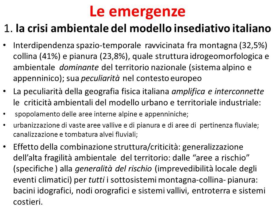 Le emergenze 1. la crisi ambientale del modello insediativo italiano Interdipendenza spazio-temporale ravvicinata fra montagna (32,5%) collina (41%) e