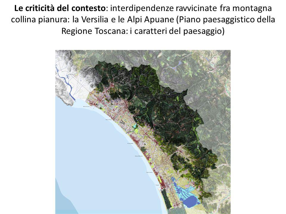 Le criticità del contesto: interdipendenze ravvicinate fra montagna collina pianura: la Versilia e le Alpi Apuane (Piano paesaggistico della Regione T