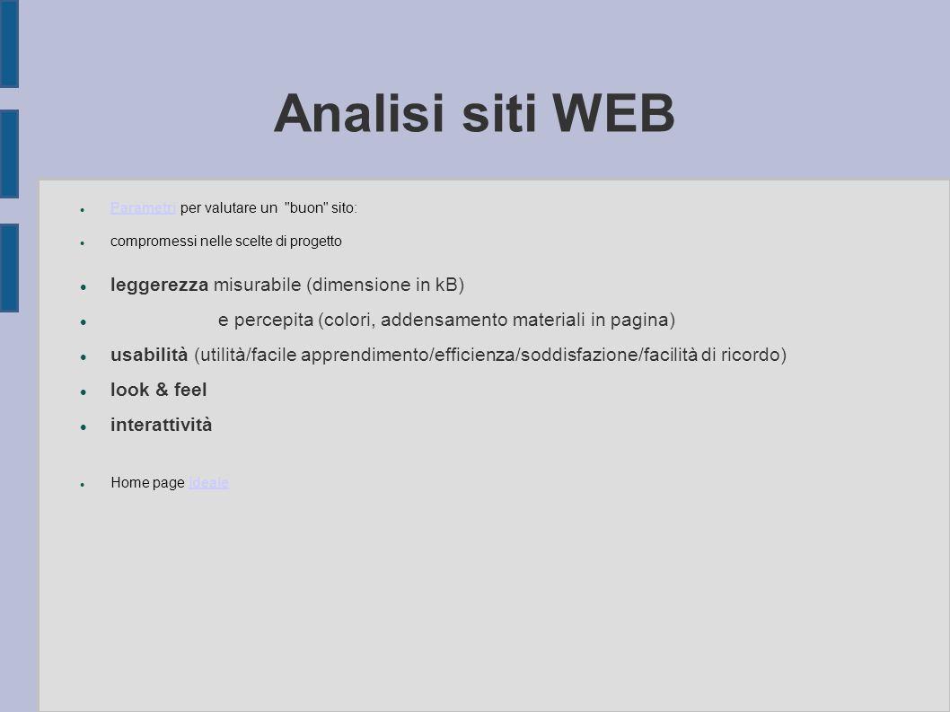 Analisi siti WEB Parametri per valutare un