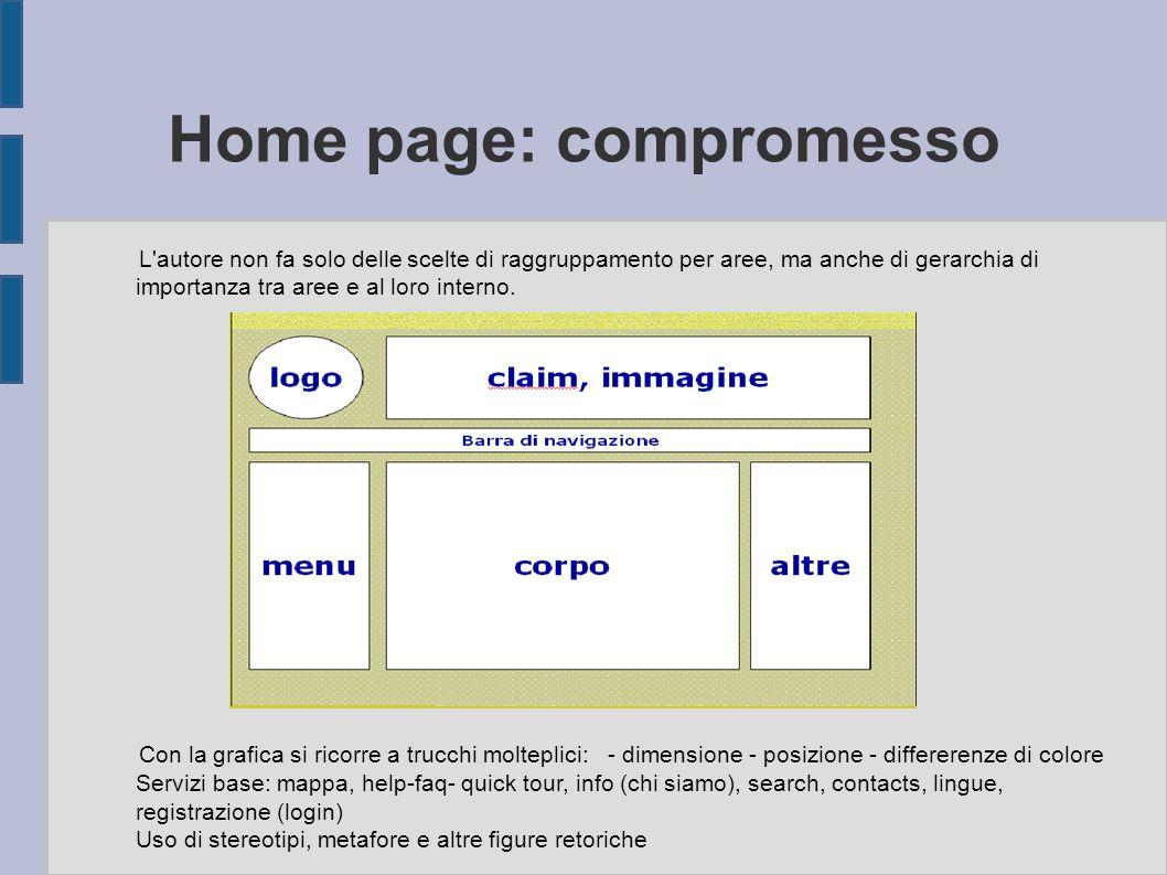 Home page: compromesso L'autore non fa solo delle scelte di raggruppamento per aree, ma anche di gerarchia di importanza tra aree e al loro interno. C