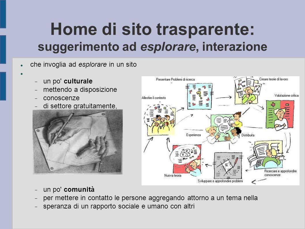 Home di sito trasparente: suggerimento ad esplorare, interazione che invoglia ad esplorare in un sito  un po' culturale  mettendo a disposizione  c
