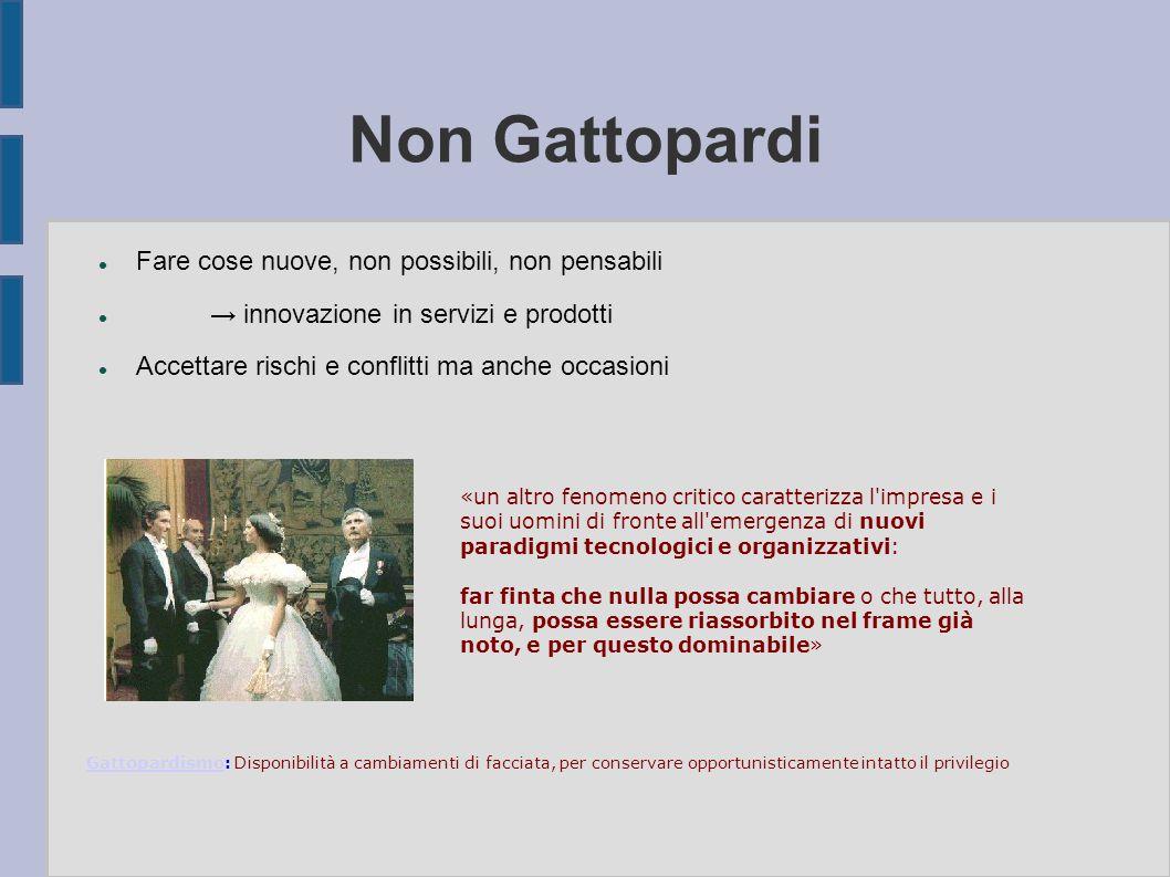 Non Gattopardi Fare cose nuove, non possibili, non pensabili → innovazione in servizi e prodotti Accettare rischi e conflitti ma anche occasioni «un a