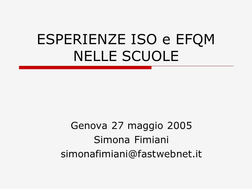 ESPERIENZE ISO e EFQM NELLE SCUOLE Genova 27 maggio 2005 Simona Fimiani simonafimiani@fastwebnet.it