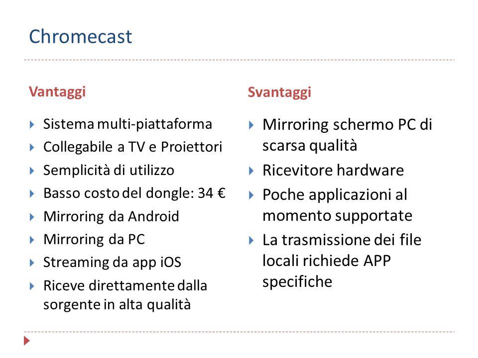 Chromecast Vantaggi Svantaggi  Sistema multi-piattaforma  Collegabile a TV e Proiettori  Semplicità di utilizzo  Basso costo del dongle: 34 €  Mi
